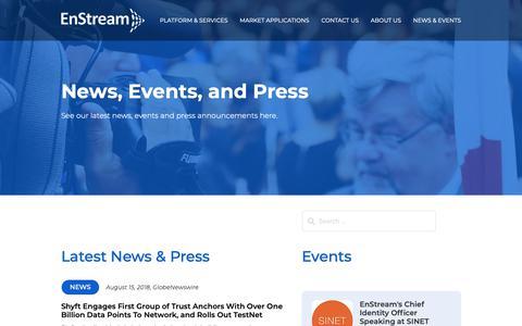 Screenshot of Press Page enstream.com - EnStream | NEWS & EVENTS - captured Sept. 28, 2018