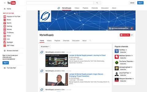 Screenshot of YouTube Page youtube.com - MyriadSupply  - YouTube - captured Nov. 17, 2015