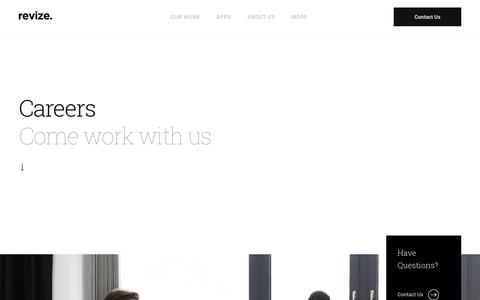 Screenshot of Jobs Page revize.com - Careers CMS design Web Content Management Development Lead Generation - captured June 22, 2018