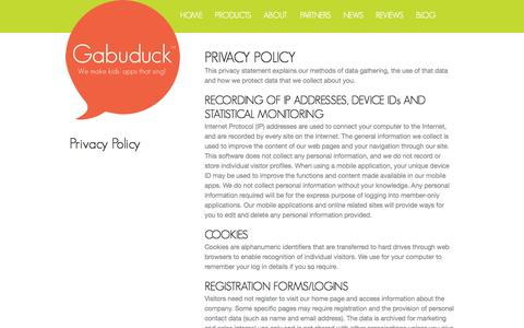 Screenshot of Privacy Page gabuduck.com - Gabuduck Privacy Policy   Gabuduck - captured Sept. 16, 2014