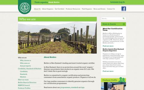 Screenshot of About Page biogro.co.nz - BioGro: Who we are - captured Nov. 3, 2014