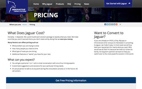Screenshot of Pricing Page innovativetimingsystems.com - Pricing Information | Innovative Timing Systems - captured Sept. 30, 2014