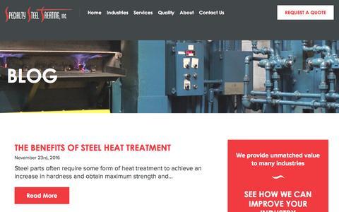 Screenshot of Blog sst.net - Blog -Specialty Steel Treating - captured Dec. 8, 2016