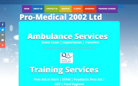 Screenshot of Services Page promedical2002.com - Pro Medical 2002 Ltd : Services - captured Aug. 31, 2017