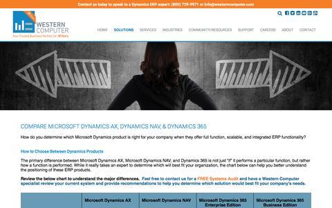 Product Comparison, Western Computer | Microsoft Dynamics AX, Microsoft Dynamics NAV, Microsoft Dynamics 365