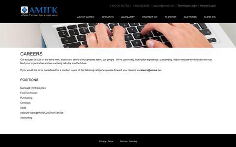 Screenshot of Jobs Page amtek.net - Careers - Amtek - captured Oct. 3, 2018