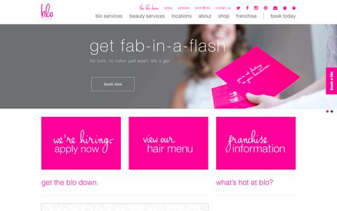 Screenshot of Home Page blomedry.com - home - blo blow dry bar - captured Oct. 16, 2015