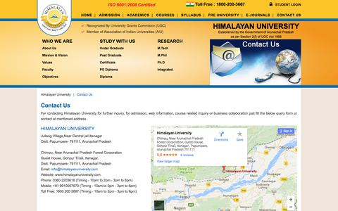 Screenshot of Contact Page himalayanuniversity.com - Contact Us - Himalayan University - captured May 20, 2017