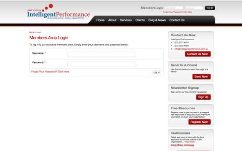 Screenshot of Signup Page intelligentperformance.com.au - Intelligent Performance - Login - captured Sept. 19, 2018