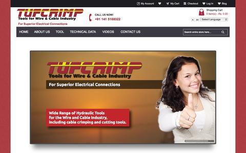 Screenshot of Home Page tufcrimp.com - Hydraulic Tools Manufacturer and Supplier India | Tufcrimp - captured Oct. 9, 2014