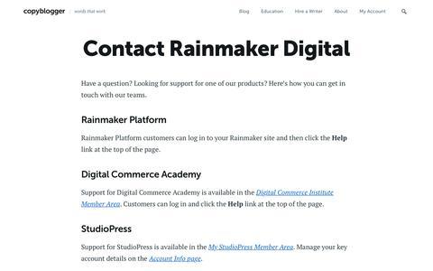 Screenshot of Contact Page copyblogger.com - Contact Rainmaker Digital - Copyblogger - - captured Sept. 19, 2018