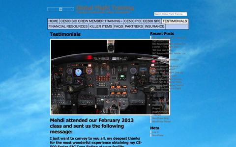 Screenshot of Testimonials Page gftjettraining.com - Testimonials « Global Flight Training | Global Flight Training - captured Jan. 29, 2016