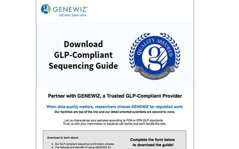 Screenshot of Landing Page genewiz.com - GLP Confirmatory Sequencing Guide - captured Oct. 29, 2016