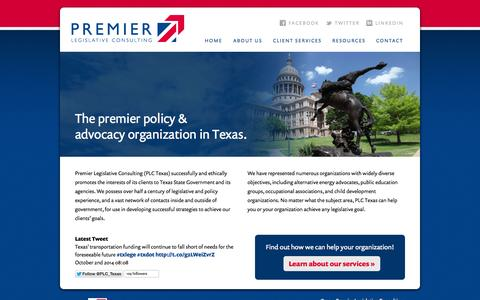 Screenshot of Home Page plctexas.com - Premier Legislative Consulting - captured Oct. 3, 2014