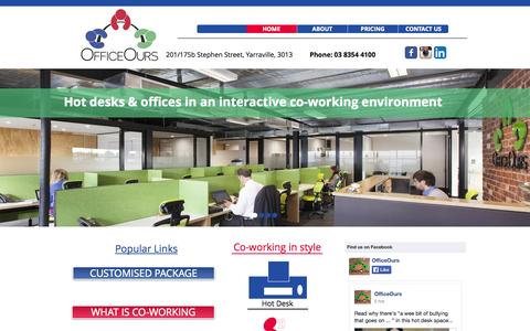Screenshot of Home Page officeours.com.au - OfficeOurs - Melbourne co-working, hot desks, serviced offices - captured Oct. 7, 2014