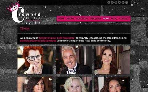 Screenshot of Team Page crownedstudiosalon.com - Team | Crowned Studio Salon | Pasadena - captured Oct. 3, 2014