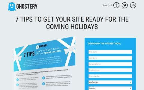 Screenshot of Landing Page ghostery.com - 7 Tips to Get Your Site Ready for the Coming Holidays - captured March 15, 2016