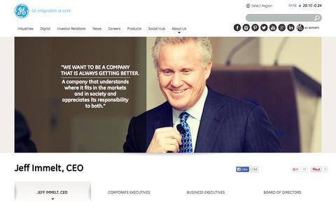 Screenshot of Team Page ge.com - Jeff Immelt, CEO | GE.com - captured Oct. 30, 2015