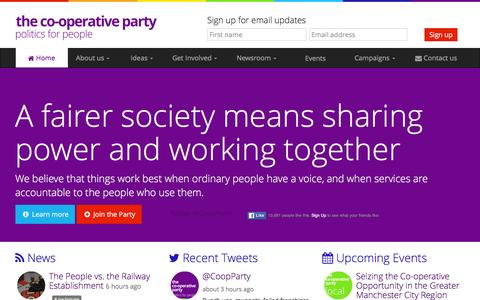 Screenshot of Home Page party.coop - the Co-operative Party | Politics for people - captured Feb. 24, 2016