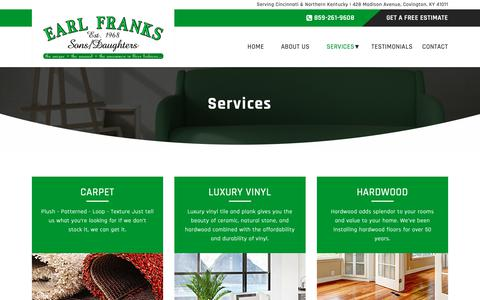 Screenshot of Services Page earlfranksflooring.com - Services – Earl Franks - captured Dec. 13, 2018