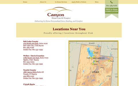 Screenshot of Contact Page Locations Page canyonhomecare.com - Cayon Home Care | Contact Us - captured July 14, 2017
