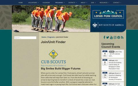 Screenshot of Signup Page longspeakbsa.org - Join/Unit Finder - Longs Peak Council - captured Sept. 1, 2017