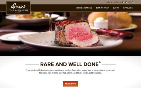 Screenshot of Home Page perryssteakhouse.com - Perry's Steakhouse & Grille | Fine Dining Restaurants - captured Sept. 19, 2014