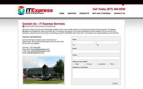 Screenshot of Contact Page itexpressservices.com - Contact IT Express Services | Cisco Networking Professionals - captured Sept. 30, 2014