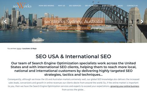 Screenshot of Locations Page seoworks.com - SEO Los Angeles - New York City - Sydney Australia | seoWorks™ International SEO - captured May 8, 2018