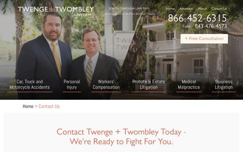Screenshot of Contact Page twlawfirm.com - Contact Us : South Carolina Personal Injury Law Firm : Twenge + Twombley - captured July 2, 2018