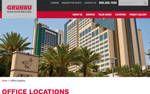 Screenshot of Locations Page grunau.com - Office Locations | Grunau Company - captured Sept. 23, 2017