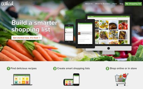 Screenshot of Home Page whisk.com - Whisk | Digital Shopping List | Shopping List Apps - captured Sept. 27, 2015
