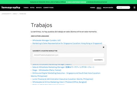 Screenshot of Jobs Page lomography.es - Trabajos · Lomography - captured Sept. 12, 2016