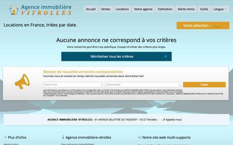 Screenshot of Locations Page immo-vitrolles.com - 0 annonce de locations en France, triées par date. - AGENCE IMMOBILIERE VITROLLES - captured Oct. 1, 2018