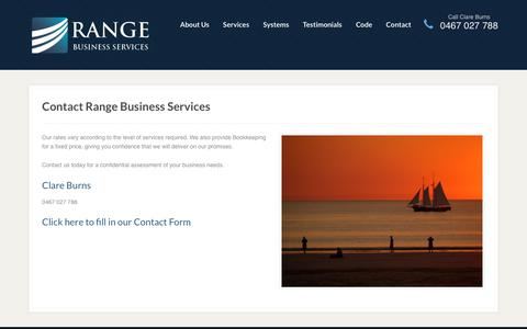 Screenshot of Contact Page rangeservices.com.au - Contact Range Business Services - Bookkeeping in Broome - captured Oct. 18, 2018