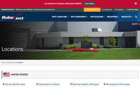 Screenshot of Locations Page robovent.com - Locations - captured Sept. 24, 2016