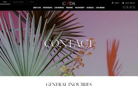 Screenshot of Contact Page cfda.com - Contact   CFDA - captured Sept. 3, 2017