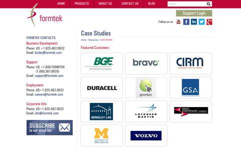 Screenshot of Case Studies Page formtek.com - Enterprise Content Management Case Studies | formtek - captured July 13, 2018