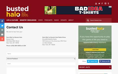 Screenshot of Contact Page bustedhalo.com - Contact Us - Busted Halo - captured July 31, 2016