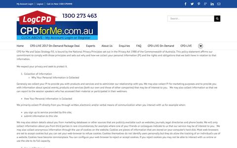 Screenshot of Privacy Page cpdforme.com.au - Privacy Policy - CPDforMe.com.au - captured April 12, 2017