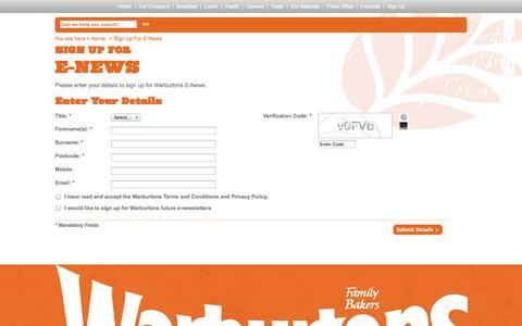 Screenshot of Signup Page warburtons.co.uk - Warburtons - captured Oct. 26, 2014