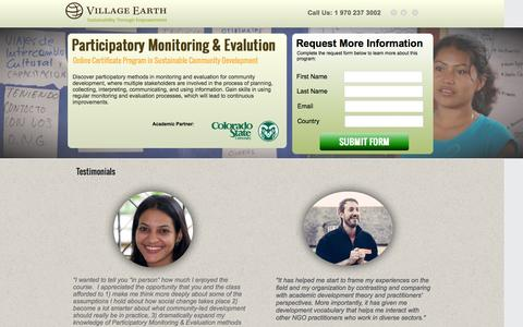 Screenshot of Landing Page villageearth.org - Online Course in Participatory Monitoring and Evaluation for Development at CSU | Village Earth - captured July 15, 2016