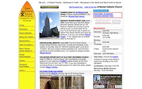 Screenshot of Home Page stfxbrooklyn.org - St Francis Xavier :: Home - captured June 20, 2016