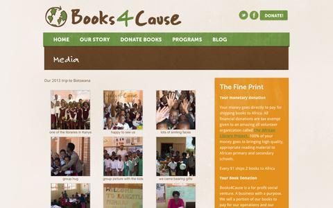 Screenshot of Press Page books4cause.com - Media - Books4Cause - NYC & Chicago - captured Feb. 8, 2016