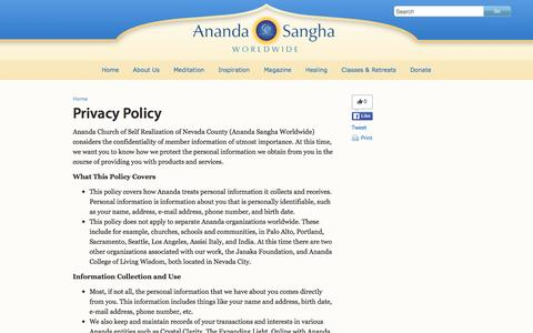 Screenshot of Privacy Page ananda.org - Privacy Policy - Ananda Sangha Worldwide - captured Jan. 16, 2016