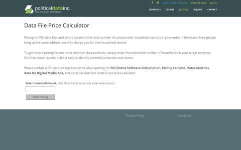 Screenshot of Pricing Page politicaldata.com - Price Calculator 2   Political Data, Inc. - captured Nov. 10, 2018