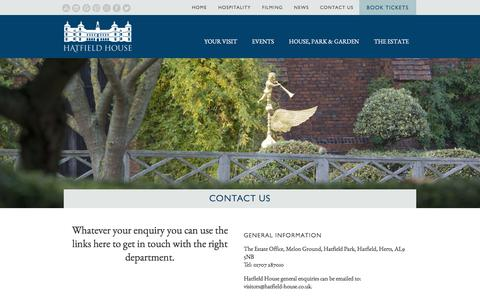Screenshot of Contact Page hatfield-house.co.uk - Contact Us | Hatfield House - captured Oct. 6, 2017