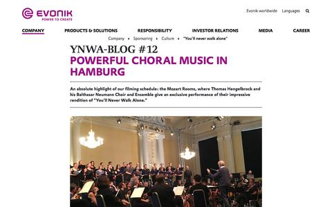#EvonikYNWA in Hamburg - Balthasar Neumann Choir - Evonik Industries AG
