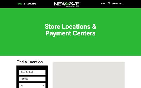 Screenshot of Locations Page newwavecom.com - Store Locations & Payment Centers « NewWave Communications - captured Feb. 14, 2016
