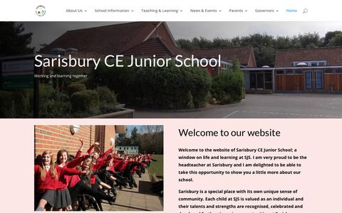 Screenshot of Home Page sjsonline.org.uk - Sarisbury CE Junior School   Love, Hope, Forgiveness - captured Oct. 28, 2018